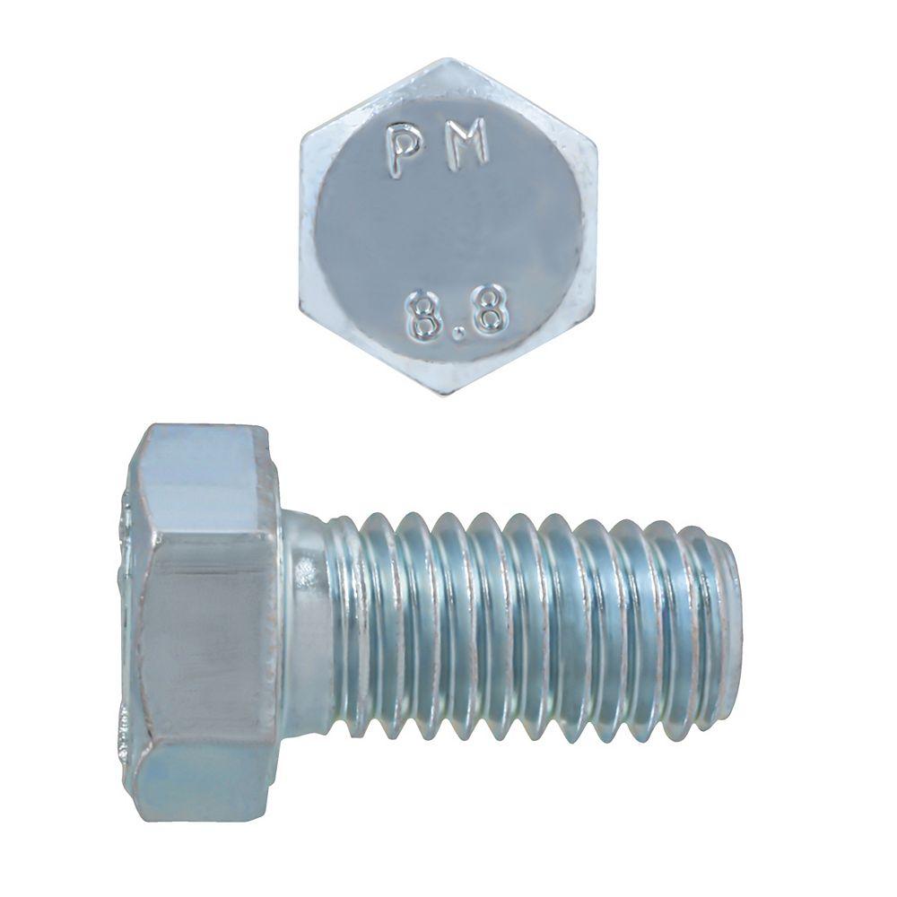 Paulin M8-1.25 x 16mm Class 8.8 Metric Hex Cap Screw - DIN 933 - Zinc Plated