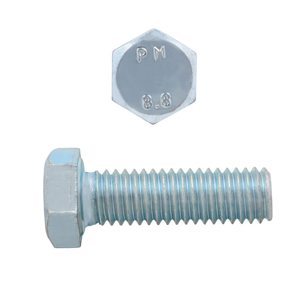 Paulin M8-1.25 x 25mm Class 8.8 Metric Hex Cap Screw - DIN 933 - Zinc Plated