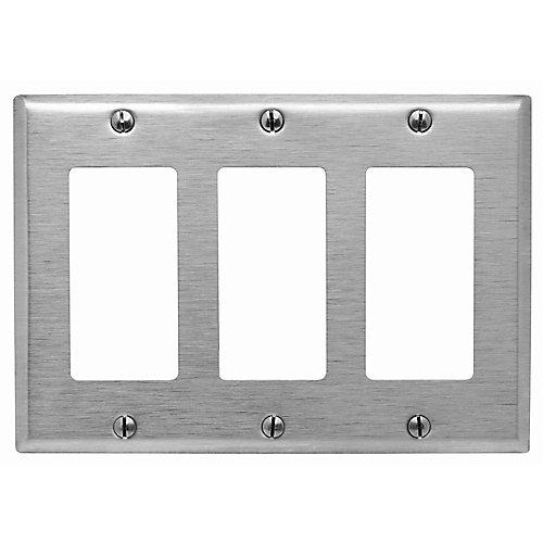 3-Gang Decora Wallplate, Stainless Steel