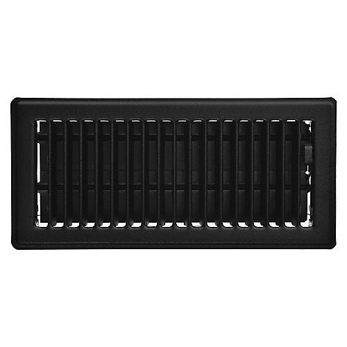 4 inch x 10 inch Victorian Floor Register - Matt Black