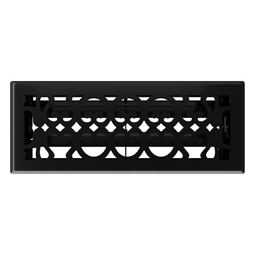 Hampton Bay 4 inch x 10 inch Victorian Floor Register - Matt Black