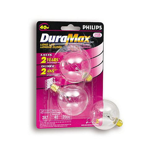 40 Watt G16 Clear Candelabra Incandescent Globe Light Bulb (2-Pack)