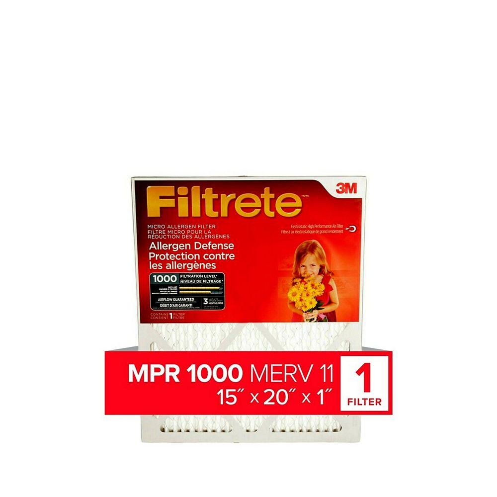 Filtrete 15-inch x 20-inch x 1-inch Allergen Defense MPR 1000 Micro Allergen  Furnace Filter