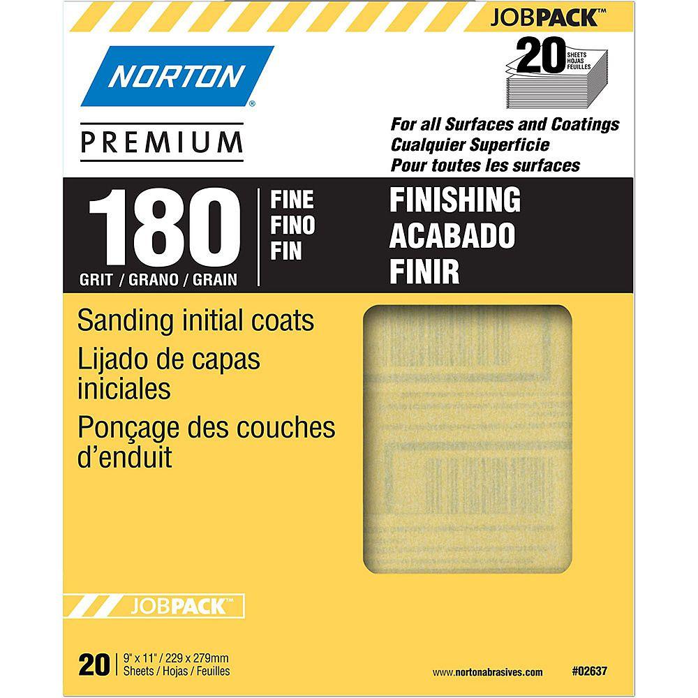 Norton Feuille de ponçage Premium  9 piX11 pi Grain Fin-180 Emb de 20