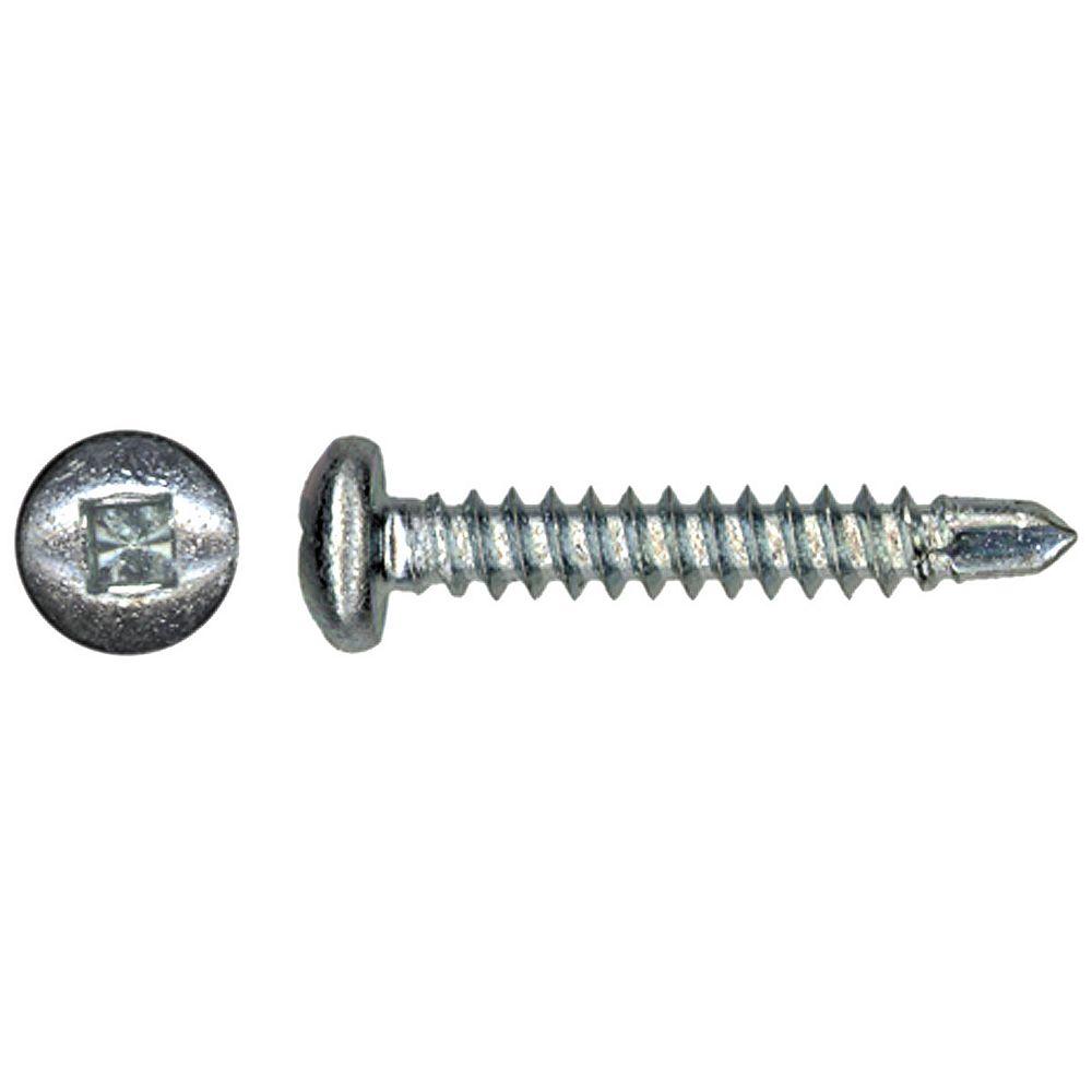 Paulin #6 x 3/8 -inch Pan Head Square Drive Steel Metal Screws Self-Drilling Zinc Plated - 100pcs