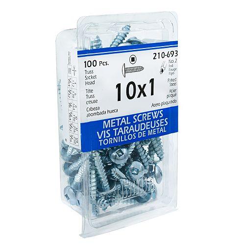 Paulin #10 x 1 -inch Truss Head Square Drive Steel Metal Screws Zinc Plated - 100pcs