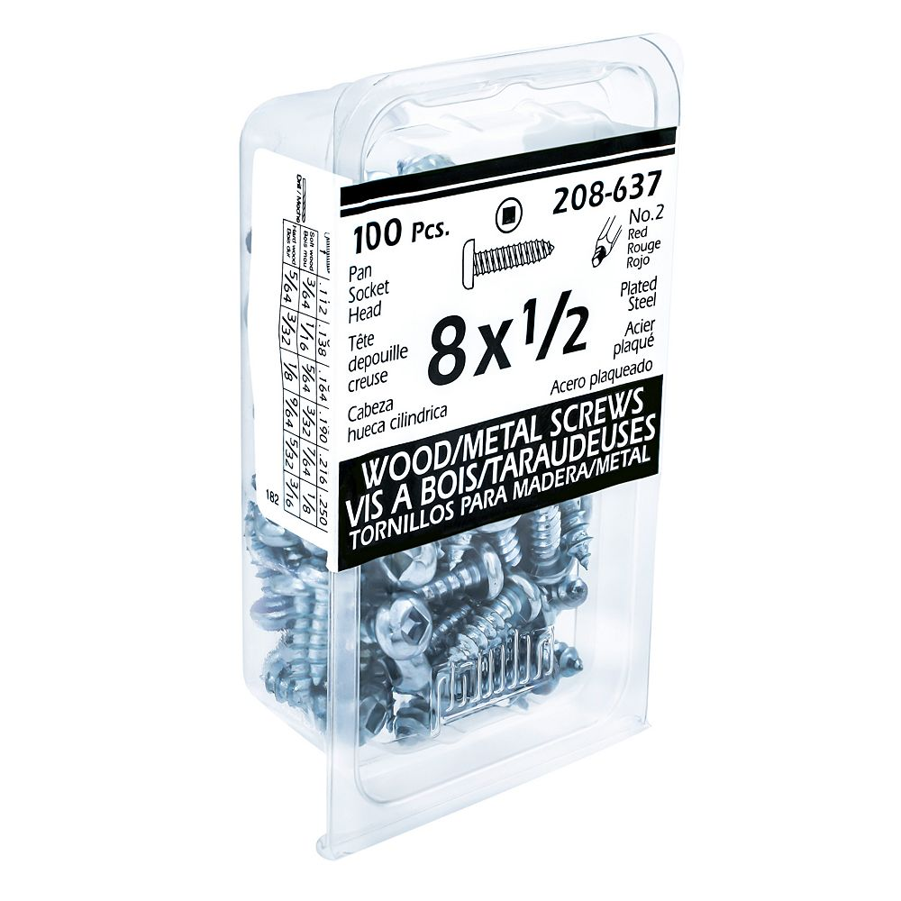 Paulin #8 x 1/2 -inch Pan Head Square Drive Steel Metal Screws Zinc Plated - 100pcs