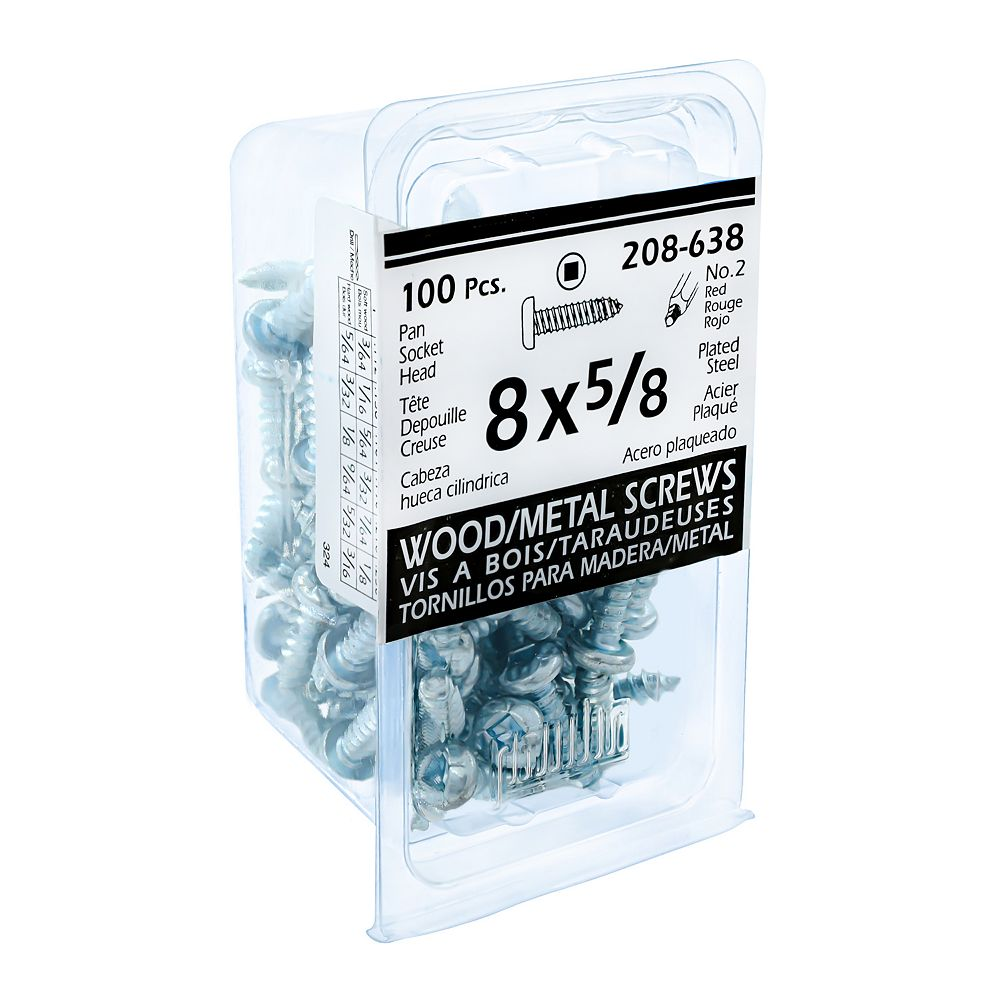 Paulin #8 x 5/8 -inch Pan Head Square Drive Steel Metal Screws Zinc Plated - 100pcs
