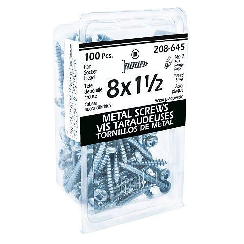 #8 x 1-1/2 -inch Pan Head Square Drive Steel Metal Screws Zinc Plated - 100pcs