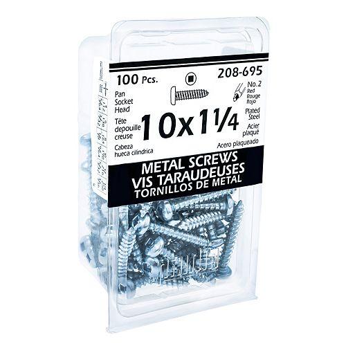 #10 x 1-1/4 -inch Pan Head Square Drive Steel Metal Screws Zinc Plated - 100pcs
