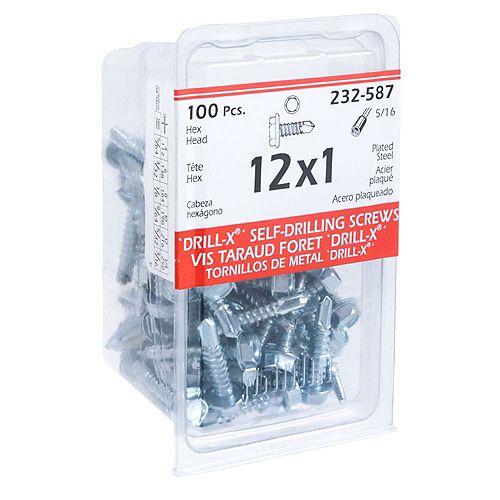 Paulin #12 x 1-inch Hex Head Washer Drive Self-drilling Steel Metal Screws - Zinc Plated - 100pcs