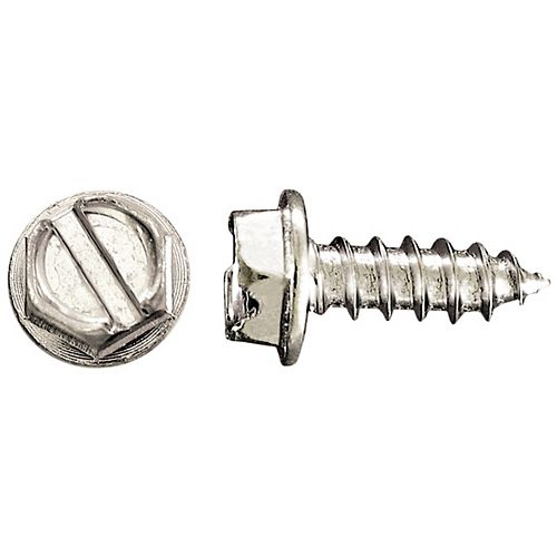 #10 x 1/2 -inch Indented Hex Head Washer Slot Drive Steel Metal Screws Zinc Plated - 100pcs