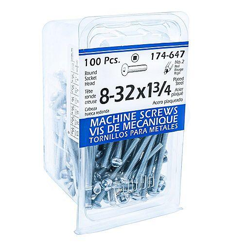 #8-32 x 1 3/4 -inch Round Head Square Drive Steel Machine Screws Zinc Plated - 100pcs