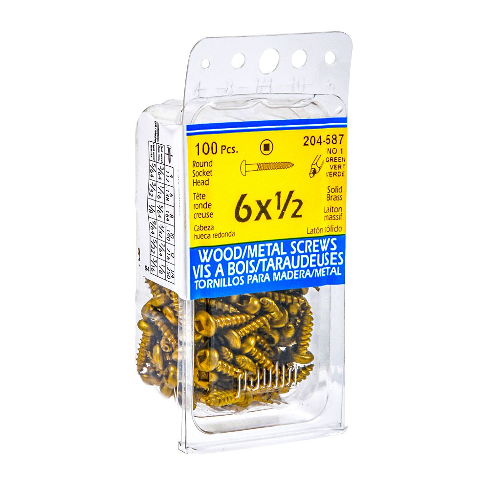 Paulin #6 x 1/2-inch Round Head Square Drive Wood Screws - Brass - 100pcs
