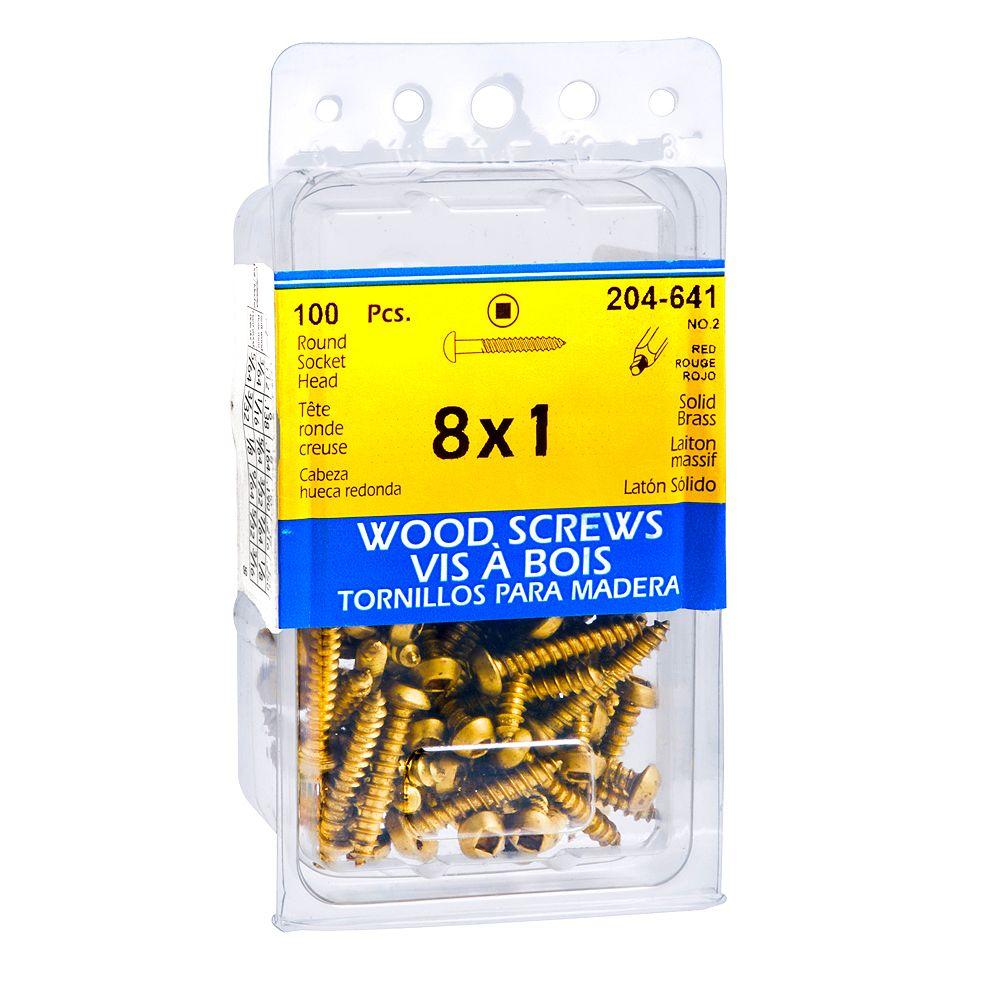 Paulin #8 x 1-inch Round Head Square Drive Wood Screws - Brass - 100pcs