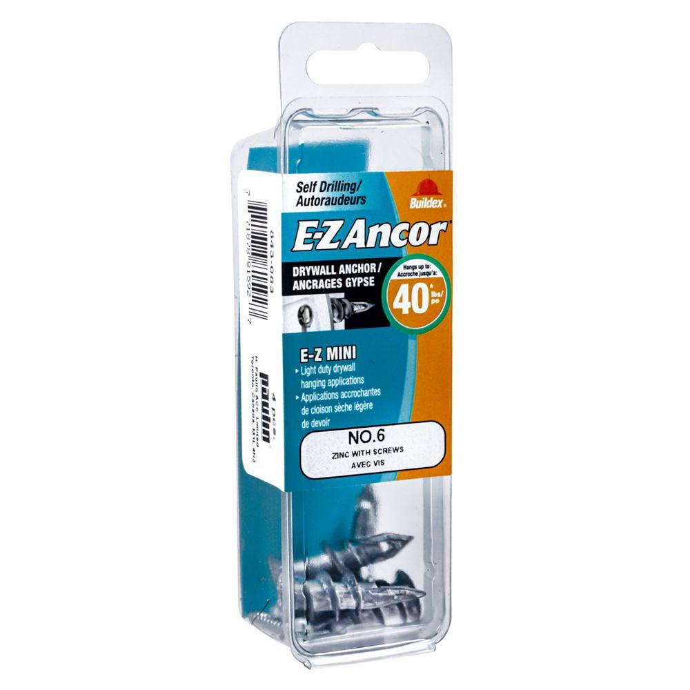 E-Z Ancor® E-Z Ancor® Mini #6 Self-Drilling Zinc Drywall Anchors with Screws, Light Duty, 4pcs