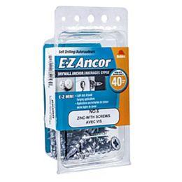 E-Z Ancor® Mini #6 Self-Drilling Zinc Drywall Anchors with Screws, Light Duty, 25pcs