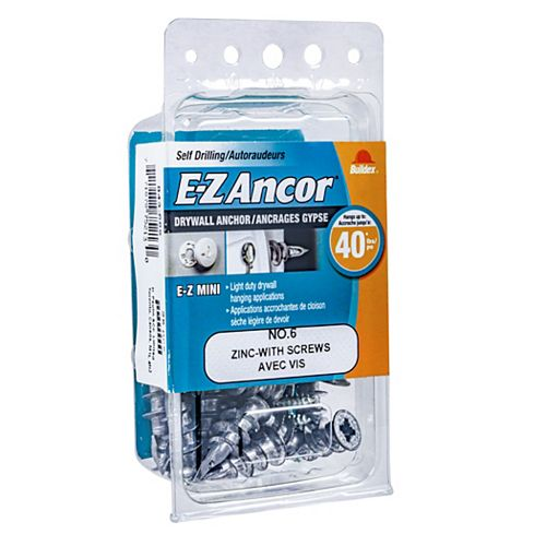 #6 Mini(R) E-Z Ancor(R) Drywall Anchor in Zinc with Screw - 25 pcs