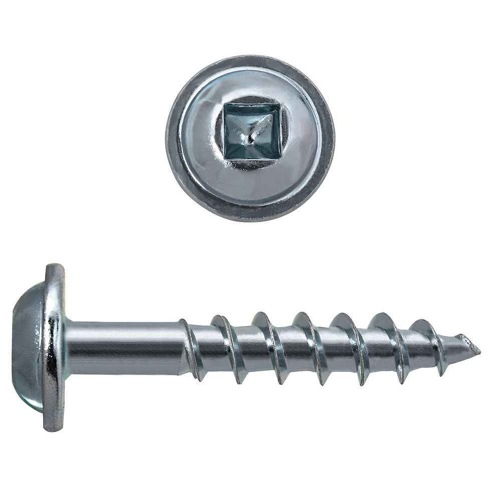 Paulin #8 x 1-inch Round Washer Head Square Drive Zinc Plated Steel Particle Board Screws - 100pcs