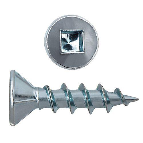 """Vis pour panneaux de particules #8 x 3/4"""" à tête plate à entraînement carré en acier zingué et plaqué zinc - 100 pièces"""