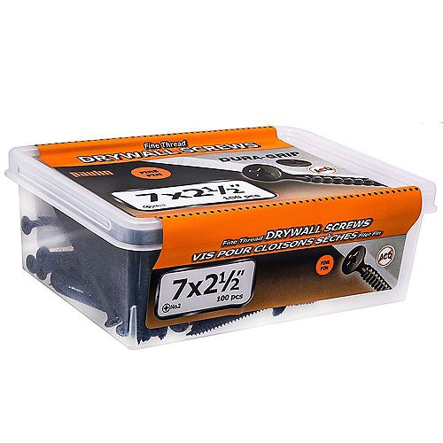 #7 x 2-1/2-inch Flat Head Phillips Drive Fine Thread Drywall Screws - 100pcs