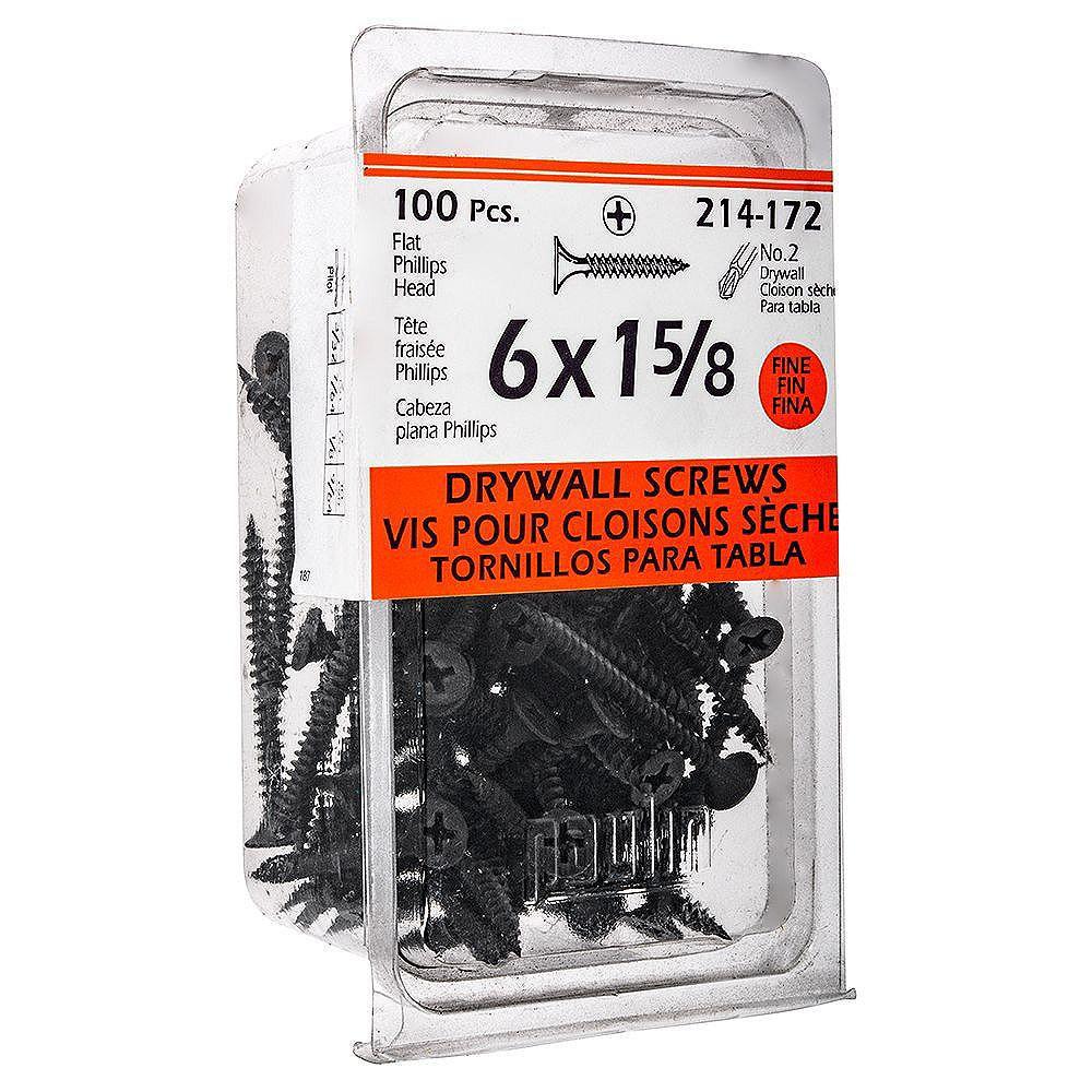 Paulin #6 x 1-5/8-inch Flat Head Phillips Drive Fine Thread Drywall Screws - 100pcs