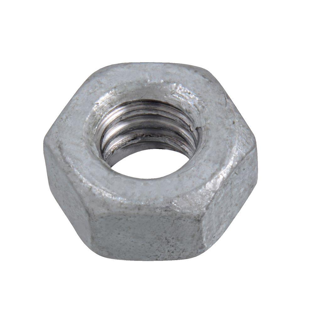 Paulin Écrou hexagonal 1/4 po-20 fini 2-Oversifié - Galvanisé par immersion à chaud - UNC