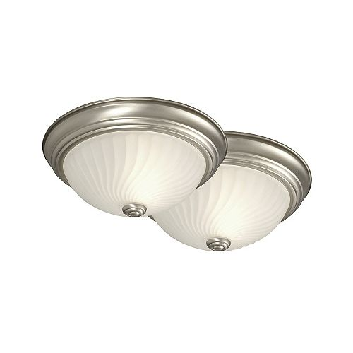 Commercial Electric 11.3 inch Flush Mount, Pewter Finish,Twin Pack