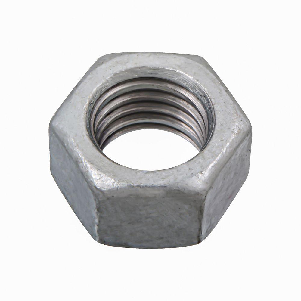 Paulin Écrou hexagonal fini 1/2 po 13 - grade 2 surdimensionné - galvanisé par immersion à chaud - UNC