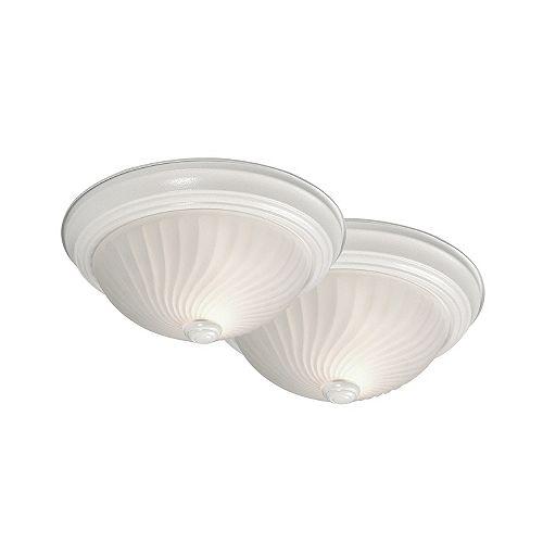Plafonnier blanc, 2ampoules, 100W, 11,38po, diffuseur en verre givré (paquet de 2)