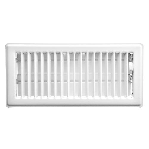 4 inch x 10 inch Floor Register - White
