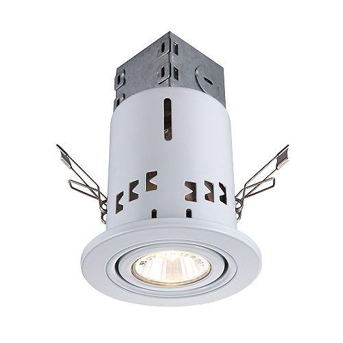 Ensemble promotionnel, (6) niches de 7,62 cm, GU10, pour nouvelle construction ou plafond existant, avec (6) garnitures à cardan blanches, ampoules comprises