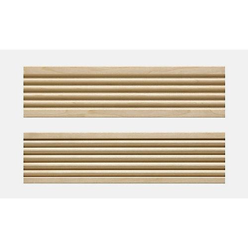 Cadrage en bois blanc dur, cannelé en avant et astragale à l'arrière 3/4 po X 3 po - prix par pièce 7 pied