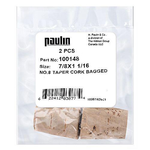 7/8X1-1/16 #8 Taper Cork 2Pcs