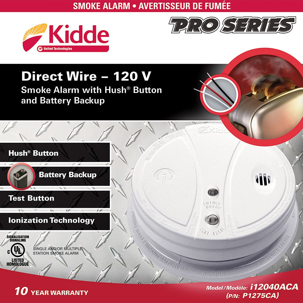 Kidde Pro Series 120V Hardwire Smoke Alarm with Hush Button and Battery Backup