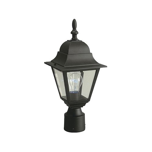100W 1-Light Black Outdoor Post Lantern with Clear Bevelled Glass