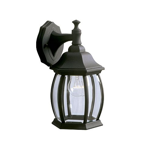 100W 1-Light Black Outdoor Wall Lantern with Clear Bevelled Glass
