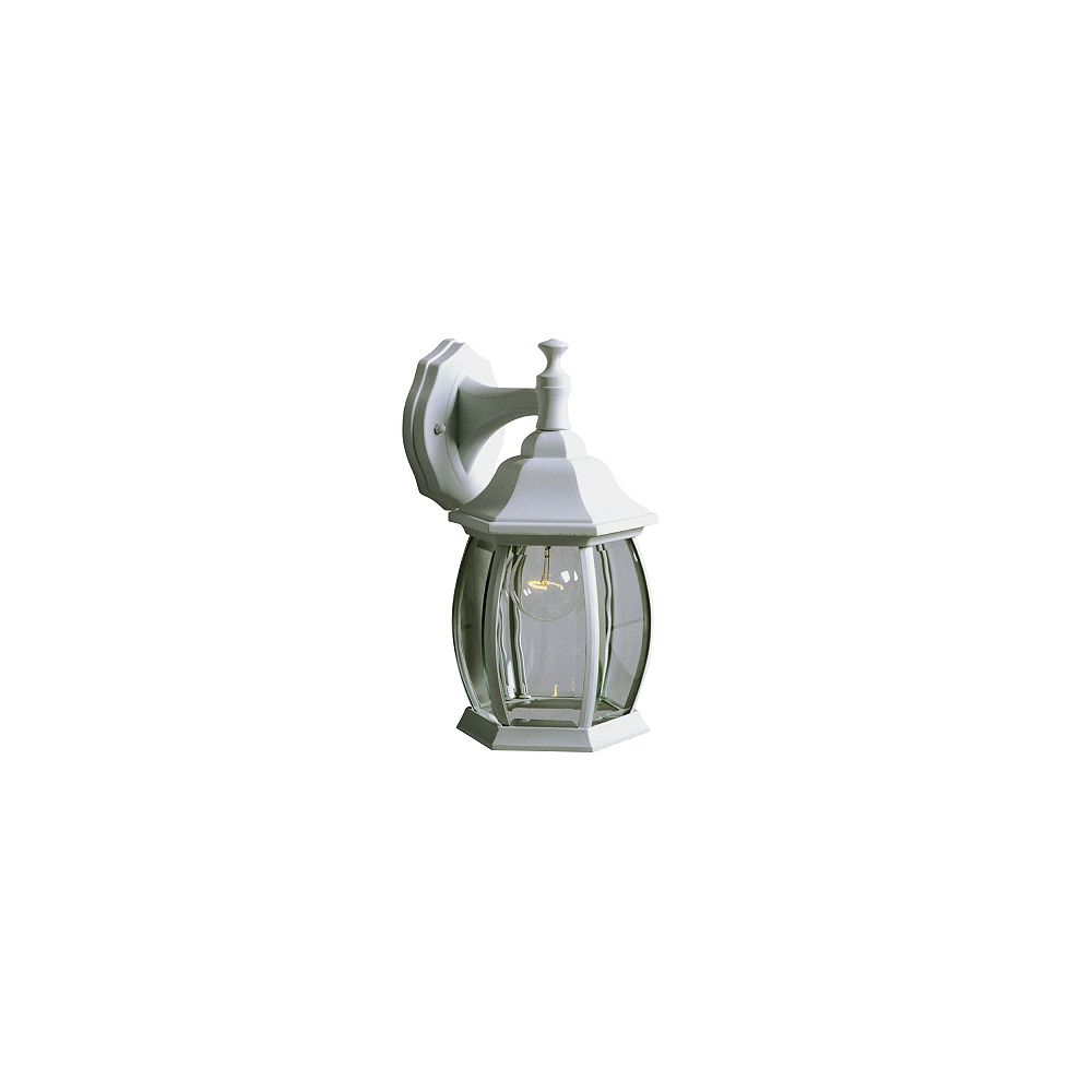 Hampton Bay 100w 1 Light White Outdoor Wall Lantern With Clear Bevelled Glass The Home Depot Canada