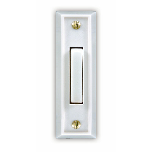 Wired Lighted Door Bell Push Button, White