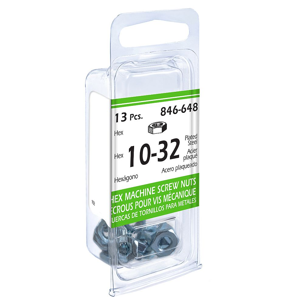 Paulin #10-32 Hex Machine Screw Nut - Zinc Plated - 13pcs