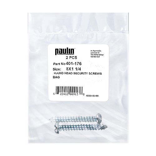 #8 x 1-1/4-inch Round Head One-Way Slot Drive Security Screws Zinc Plated - 2 pcs