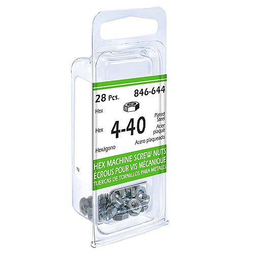 Paulin #4-40 Hex Machine Screw Nut - Zinc Plated - 28pcs