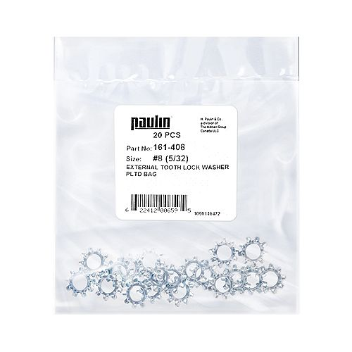 Paulin #8 (5/32-inch) External Tooth Lock Washer Plated - 20 pcs