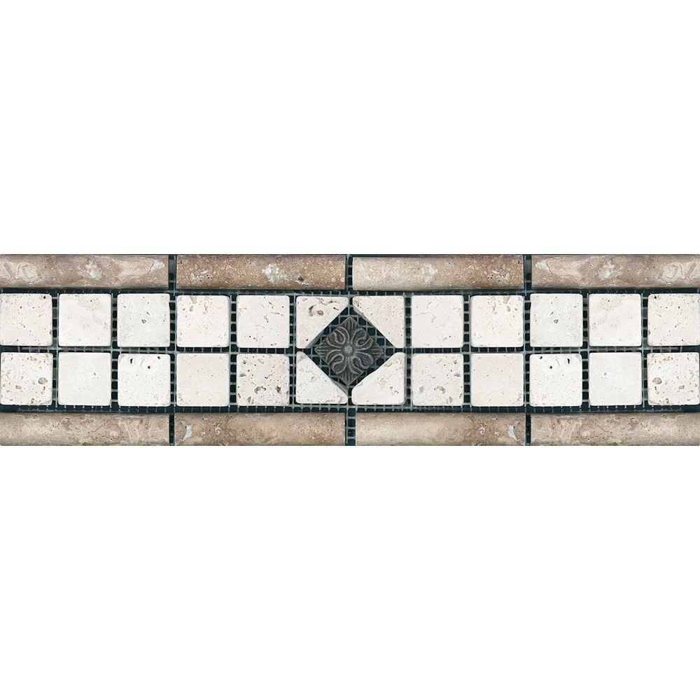 Enigma 3-inch x 12-inch Chiaro with Metal Decorative Listello Tile