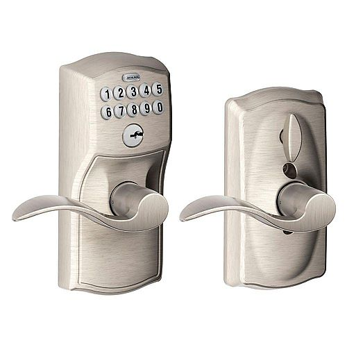 Camelot Keypad Lock Accent Lever Keyless Entry Handleset in Satin Nickel Finish