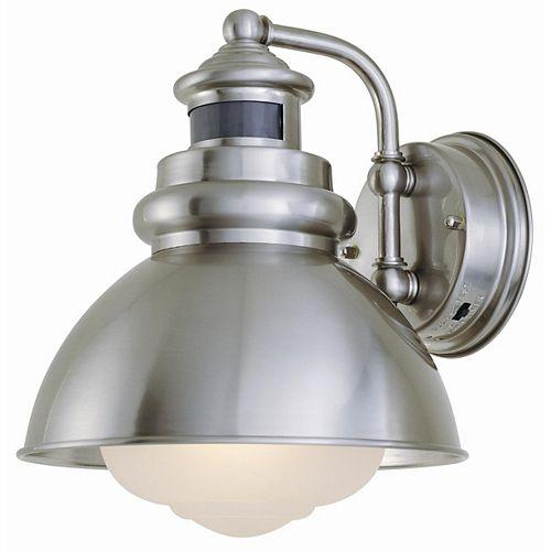 1-Light Outdoor Wall Lantern with Motion Sensor, Brushed Nickel Finish