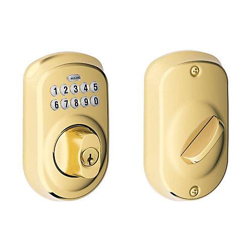 Plymouth Bright Brass Keyless Entry Keypad Deadbolt