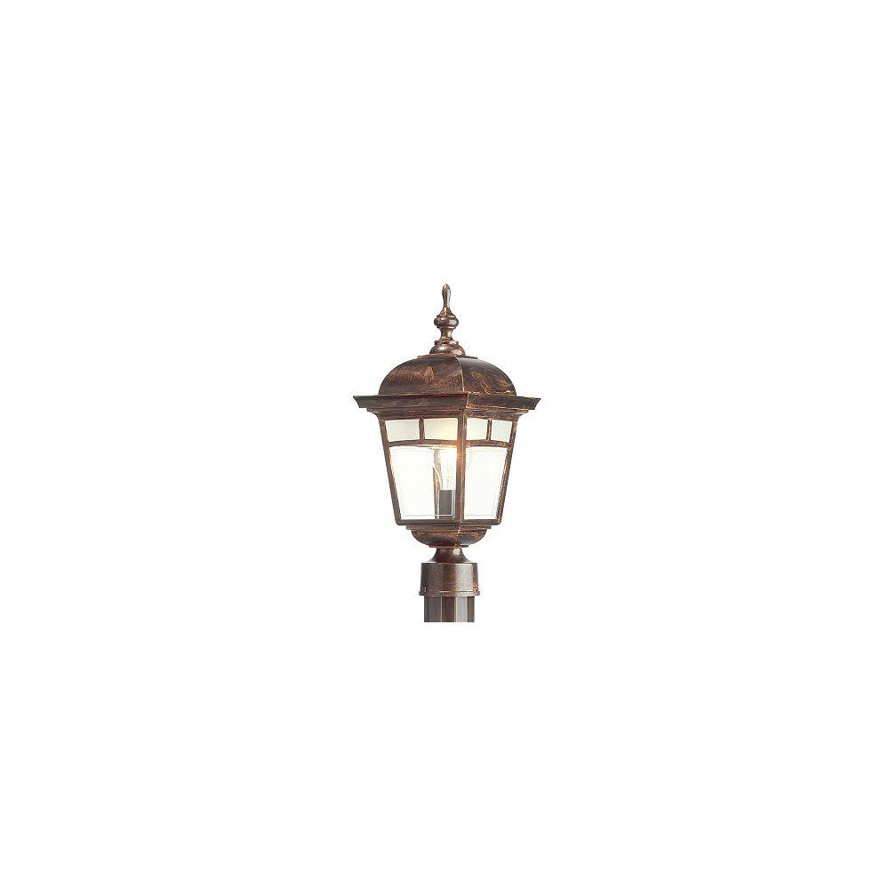 Snoc Imagine, luminaire sur poteau, panneaux de verre aux motifs givrés, cuivre antique (poteau non-inclus)