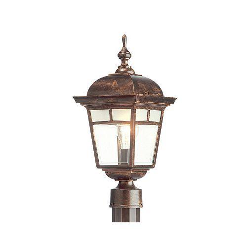 Imagine, luminaire sur poteau, panneaux de verre aux motifs givrés, cuivre antique (poteau non-inclus)