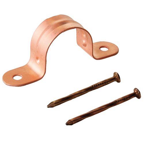 Dahl 3/4 Colliers à tuyauterie en acier plaqués cuivre, 10 crampons et 20 clous par sac